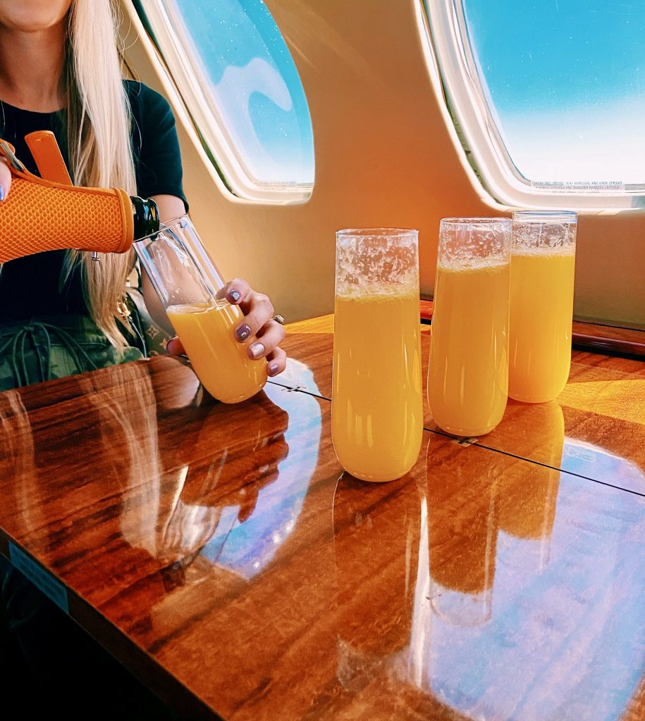 Mimosas on a private jet